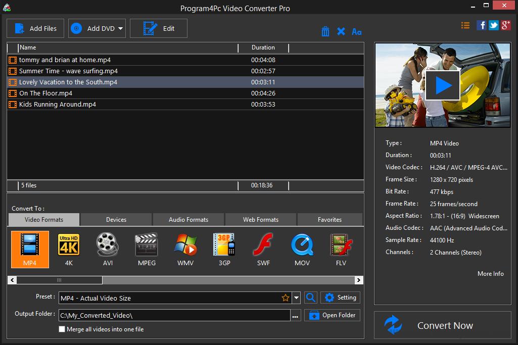 Program4Pc Video Converter Pro 8.2 Free download Screenshot
